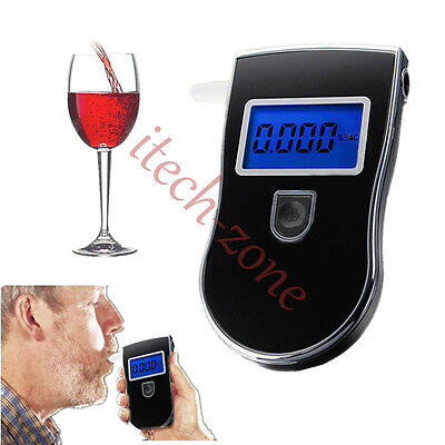Professional LCD Digital Breath Alcohol Tester Breathalyser Kit for Police Black