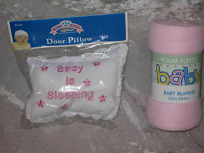 Baby Sleeping Door Pillow Pink Fleece Blanket 26x26 NEW