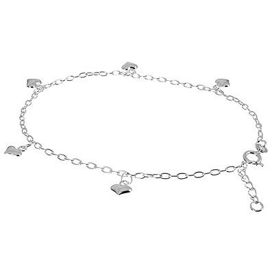 "Solid 925 Sterling Silver 9"" - 10"" Anklet With Heart Charms (For Ankle/Foot)"