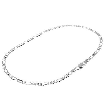 """Solid 925 Sterling Silver 10"""" 2.7mm Figaro Curb Chain Anklet (For Ankle/Foot)"""
