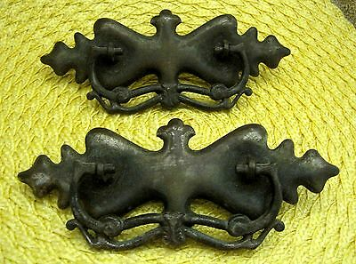"Lot of 2 Vintage Victorian Pulls Drawer Handles Darker Metal Tone 7"" x 2 1/2"""