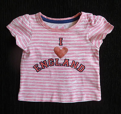 """Baby clothes GIRL 3-6m Mothercare cute pink/white stripe""""I love England"""" t-shirt"""