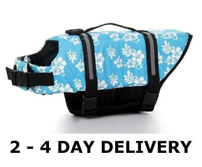 USA SELLER Dog Life Jacket Vest Reflective Strip Hawaii FLOWERS Blue XXS - XXL