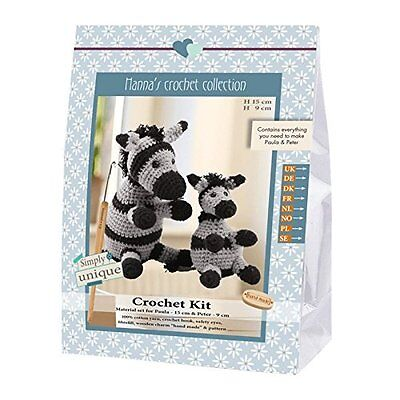 Go Handmade Paula 15cm & Peter 9cm The Zebras Crochet Needlework Complete Kit!