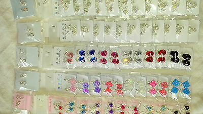 Joblot 60 Pairs Mixed colour Diamante clip on Earrings - new Wholesale 2