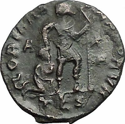 Gratian 367AD Ancient Roman Coin Labarum Christ monogram Chi-Rho i56122