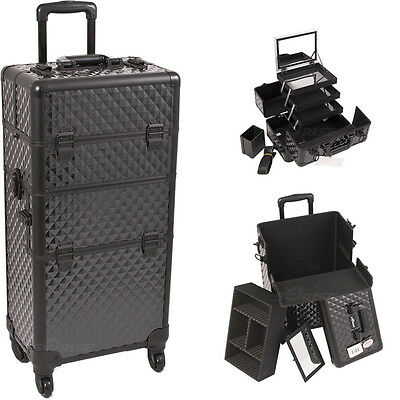 Professional 2 in 1 Aluminum Rolling Makeup Cosmetic Trolley Case Sunrise