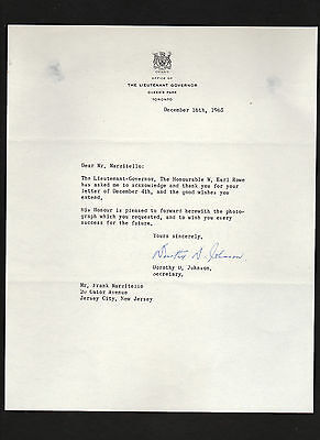 Ontario, Canada 1965 letter signed by secretary of Lt Governor William Earl Rowe