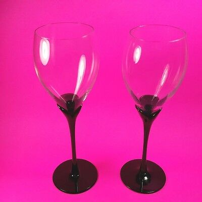 "2 Glossy Black AMARYLLIS Petal Stem Wine Glasses 9 1/4 "" Clear Tulip Bowl COLONY"