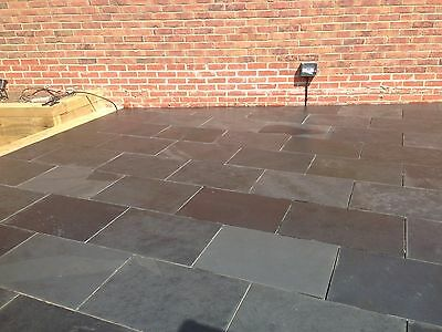 Natural Nox Black Slate Paving Garden Patio Slabs 15m2 600x400mm 15 to 20mm