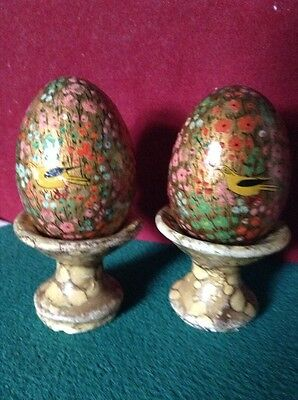 Antique Pair of Lacquered Eggs Painted With Birds & Floral On Bird Bath Stands