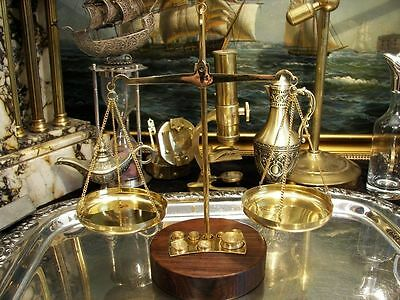 Brass Scale Balance With Wooden Base Antique Vintage Office Boss Gift