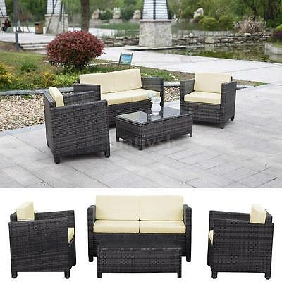 4x Outdoor Patio Furniture Wicker Rattan Deck Sofa Set pool Couch Daybed R8Q2