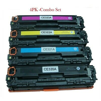 Set of 4 PK CE320A Laser Toner For HP128A Color LaserJet Pro CM1415FNW CP1525NW