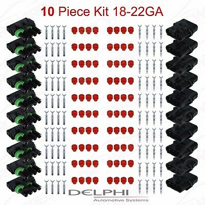 Delphi Weather Pack 4 Pin Sealed Connector Kit 18-22 GA !!!10 COMPLETE KITS!!
