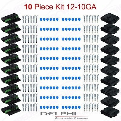 Delphi Weather Pack 6 Pin Sealed Connector Kit 12-10 GA 10PC KIT