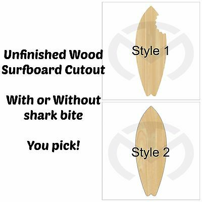 Unfinished Wood Surfboard Laser Cutout, Party Decor, Ocean, Shark Bite, Nautical
