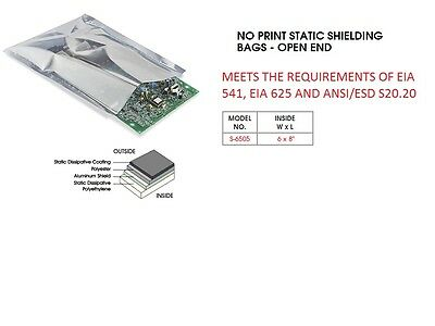 """200 PCs  ESD 6 x 8"""" Static Shielding Bags S-6505 (MEETS THE STD REQUIREMENTS)"""