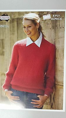 Heirloom Knitting Pattern #156 Ladies Round Neck Jumper to Knit in 8 Ply