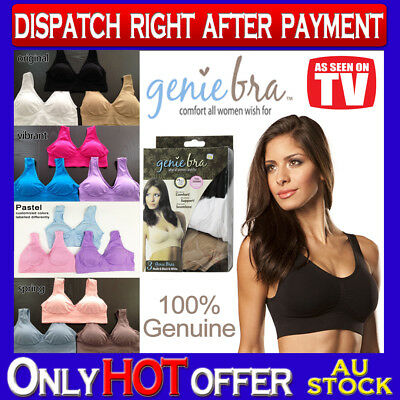 Genuine Genie Bra Set of 3 Comfort Support Seamless Shapewear S M L XL XXL XXXL