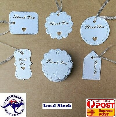 50-200 Bonbonniere Favour Gift Tags/ Thank you Card with string/Twines     White