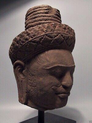 Khmer Sculpture Sandstone Head Of Shiva Figure, Phnom Bok 'bakheng Style' 10Th C