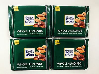 4 x 100g BARS OF RITTER SPORT CHOCOLATE - WHOLE ALMONDS GROWN IN CALIFORNIA SUN