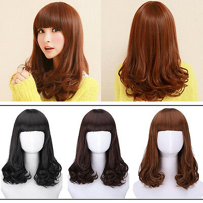 Women Fashion Heat Resistant Long Curly Hair Cosplay Costume Brown Full Wig Wigs