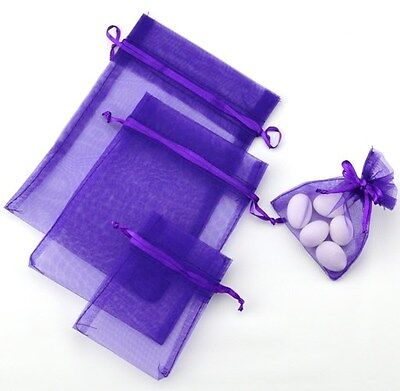 Purple Organza Bags - wedding party favour bomboniere gift pouch