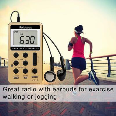 New FM/AM 2 Band Radio Receiver Mini Pocket+Rechargeable Battery&Earphone TIVDIO