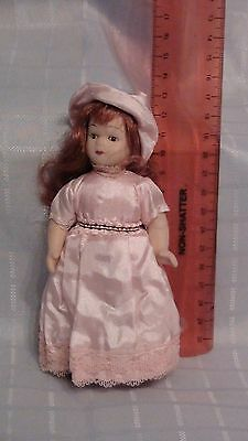 Miniature Porcelain Doll - In Pink Dress With Hat- New