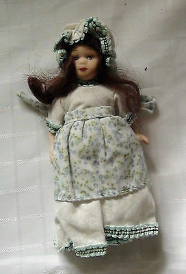 Miniature Porcelain Doll - White Dress Flower Apron With Bonnet - New