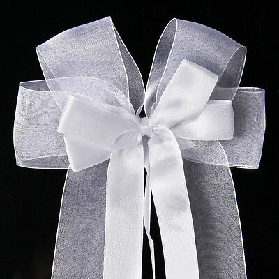 10pcs Pure White Organza Bows Ribbon Width-3.5cm Best for Wedding Car Gift Decor