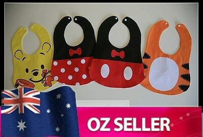 Disney Cute Baby Bib for Boy Girl - Mickey Minnie Tigger Winnie Pooh 3M-18M NEW