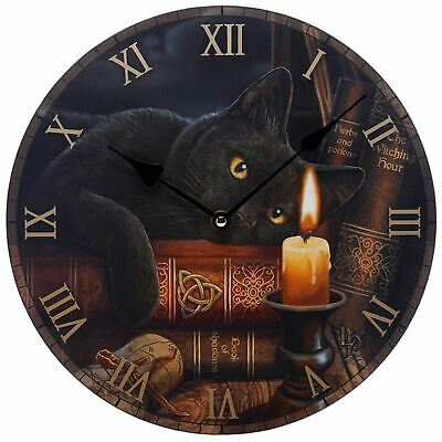 Witching Hour Black Cat Picture Wall Clock 30cm High Lisa Parker