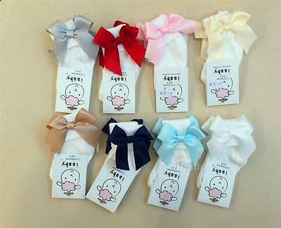 Fancy Baby Girl's Ankle Socks with Satin Ribbon Bow on side/Spanish/ONE SUPPLIED