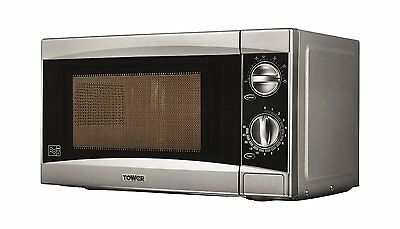Tower T24001 20Ltr - 800W Manual Microwave in Silver - Brand New