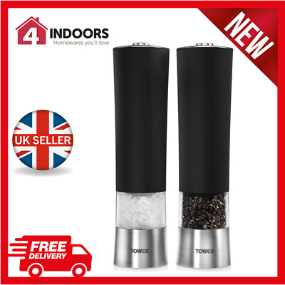 Tower T80400 Electric Salt and Pepper Mill Ceramic Grinder Black - Brand New