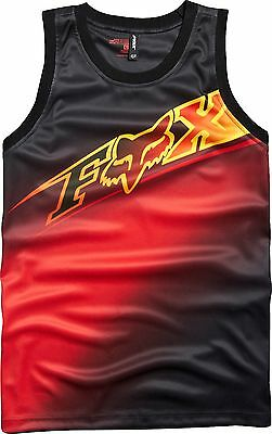 New Adult Mens Fox Racing Black Red Elecore Polyester Jersey Tank Top Tee T