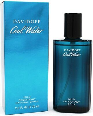 Davidoff Cool Water 75Ml Mild Deodorant Natural Spray Brand New & Boxed *