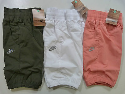New Girls Nike 3/4 Length Capri Crop Pants Trousers Joggers Swoosh 3 Colours