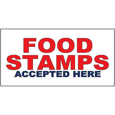 Food Stamps Accepted Here Red Blue Food Bar Restaurant Truck DECAL STICKER Retai