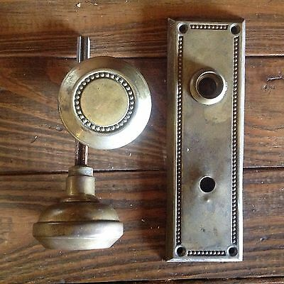 Antique Brass Ornate Door Knobs and One Matching Back Plate Yale & Towne