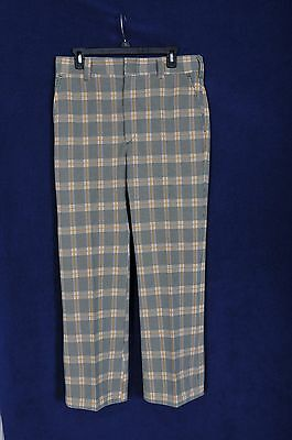 Vintage '70s Green / Gold Plaid Polyester Golf Pants 33X29