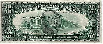 1977A $10 Federal Reserve Note Error Complete Wet Ink Transfer