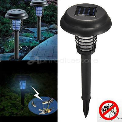 Outdoor Solar UV Mosquito Insect Pest Bug Zapper Killer Garden Lawn Light Lamp