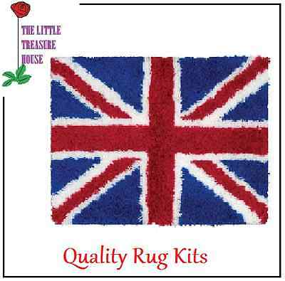 Union Jack Printed Canvas Latch Hook Rug Kit - *NEW* Everything included