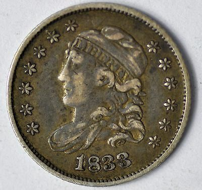 1833 Capped Bust Half Dime Early Type Silver Coin