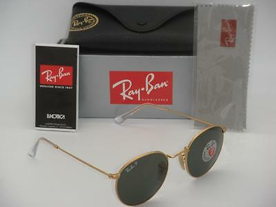 Authentic Ray-Ban RB 3447 112/58 50mm Round Metal Gold Frame Green Polarized