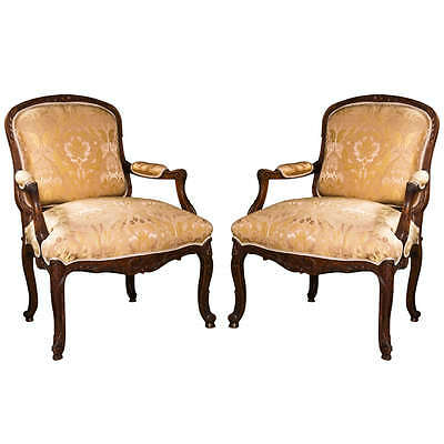 Pair of French Louis XV Style Walnut Bergeres 102-8127